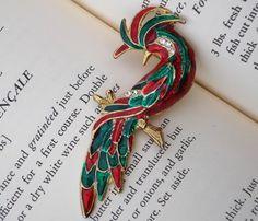 Christmas colored peacock pin