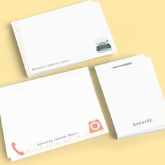 "A whimsical set of personalized flat note cards that will make anyone who receives your note smile. Flat printed in ink color and lowercase typestyle as shown. Collection includes 60 personalized notecards featuring 3 different designs (20 cards of each). Flat note card sizes are: 2 sets of standard sized cards (6.125""x 4.5"") and 1 set of petite sized cards (3.375""x 4.875""). Includes blank white envelopes. Optional return address in flat black ink available on standard size envelopes. Petite env"