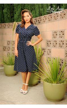 Mikarose Ariana Dress in Polka Dot in Navy