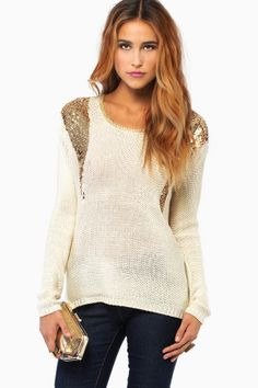 Long sleeve sweater with sequins