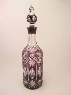 Bohemian-Czech-Amethyst-Purple-Cut-To-Clear-Decanter-Purple-Glass-Crystal