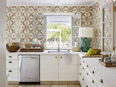 patterned wall tile in kitchen