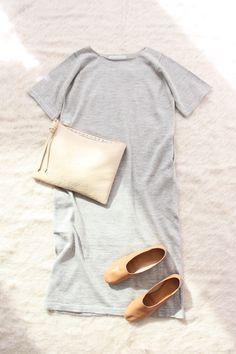 Lauren Manoogian Tall Tee Dress Grey Flax