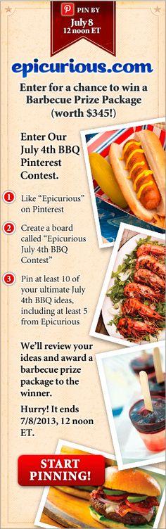 Enter Epicurious' July 4th BBQ Pinterest Contest