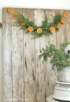 orange garland-greenery
