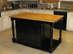 Kitchen Island made from recycled table and dresser