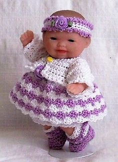 """Crochet 5"""" Berenguer Itty Bitty Baby Doll Clothes Lilac White 6 Pc Outfit"""