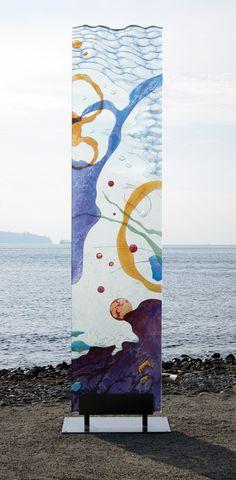 """Blue Monolith"" by Markian Olynyk.  20"" x 16"" x 75"".  Galss, paint, powder-coated steel."