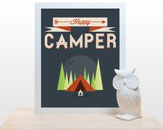 Happy Camper Print 11x14 Poster wall art decor by noodlehug, $25.00 camping forest woodland cute trees tent moon modern print navy blue red green nature lovers nursery childrens art