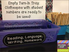classroom turn in trays, clothespin, turnin tray, back to school