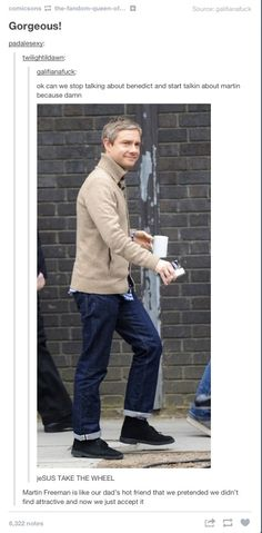 """""""Martin Freeman is like our dad's hot friend that we pretended we didn't find attractive and now we just accept it."""" Lmfao"""