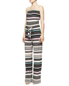 Ani+Strapless+Banded+Dot+Jumpsuit,+Multicolor+by+Diane+von+Furstenberg+at+Neiman+Marcus.