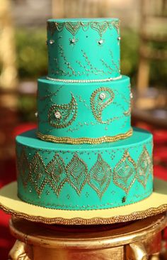 Turquoise and gold henna cake~