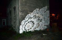 NeSpoon's amazing painted & ceramic urban doily interventions  Murals by NeSpoon , via Behance