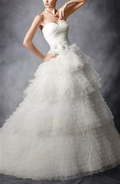 [Two In One Wedding Dress]Strapless Sweetheart Tulle Tiered Ball Gown Wedding Dress