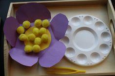 """tweezing """"pollen"""" develops fine motor skills"""