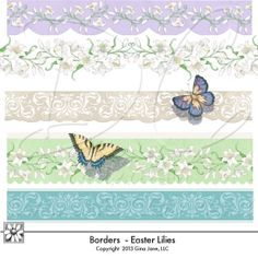 Easter Lily Scrapbook Collection - Digital clipart, graphcs borders with spring flowers and butterflies. Gina Jane Designs - DAISIE Company