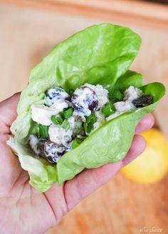 Light  Healthy Greek Yogurt Chicken Salad Lettuce Wrap