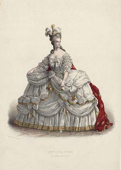 An engraving of Adelaide Ristori, an Italian actress, as Marie Antoinette