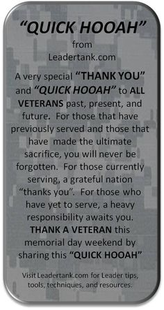 MEMORIAL DAY MESSAGE TO ALL VETERANS -  SHARE THIS WITH EVERYONE AND THANK A VETERAN.
