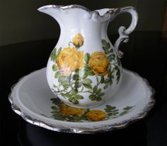 Vintage Pitcher Set plate wash basin decor 1950s 1960s yellow flowers green leaves