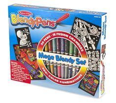 {Mega Blendy Set} This Mega Blendy Set contains hundreds of color possibilities! The 30 color-rich markers for kids combine to make over 300 blends: Simply snap two Blendy Pens into a Fusion Chamber, twist, and see the colors mix. *Perfect for your little artist.