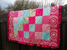 Handmade Baby Girl Quilt-Pink  Aqua on Etsy, $115.00