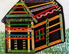 Kids art: popsicle stick house