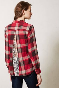 Lace inset in plaid shirt