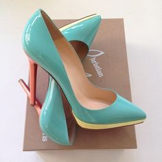 pastel, fashion, color, tiffany blue, heel, mint, pump, christian louboutin, shoe