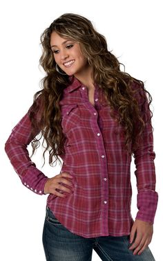Tin Haul® Women's Red, Purple and Pink Plaid Long Sleeve Western Shirt