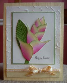Heliconia Flower Card using the bird punch
