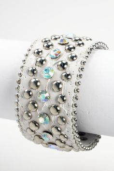 MotoChic White Leather Cuff with Crystals and Silver Studded Bling