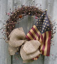 Americana Wreath, Rustic Decor, Country Cottage, Patriotic, Tea Stained Flag
