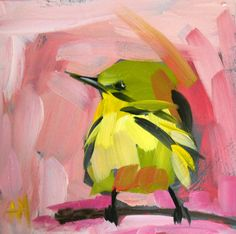 angela moulton, bird paintings, artists, oil paintings, acrylic paintings, yellow warbler on rose morning, acrylics, rose painting, birds