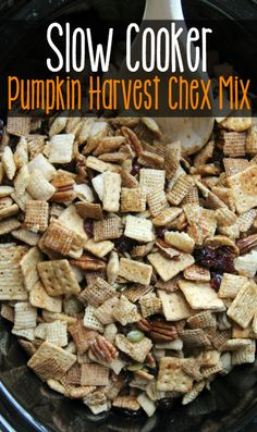 Enjoy all the flavors of fall, wrapped up in one crunchy, slow-cooker treat! Slow-Cooker Pumpkin Harvest Chex Mix
