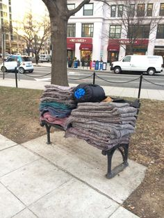 """Acts of Kindness """"Yesterday this pile of blankets was all over the ground filthy, partially wet and frozen having been slept In the night before. I saw a city worker putting the stuff into what looked like a trash can. Then this morning I walk by the same spot and see the blankets had been washed and folded. Made me smile."""""""