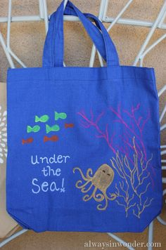 """Painted Tote """"Under The Sea"""" in 5-10 Minutes #ExpressYourself"""