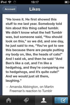 Martin Freeman's reaction to Tumblr--Dear Lord, he reads this stuff with her??  I thought it was impossible to love them more!!!