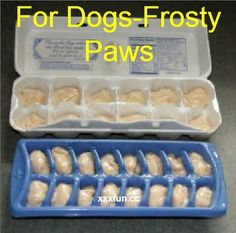 FOR DOGS- FROSTY PAWS! Homemade dog treats frosty paws Recipe: 32 oz. plain yogurt 1 mashed ripe banana 2 tablespoons peanut butter 2 tablespoons honey Glad to know I can make them homemade…these are so expensive in stores!!!