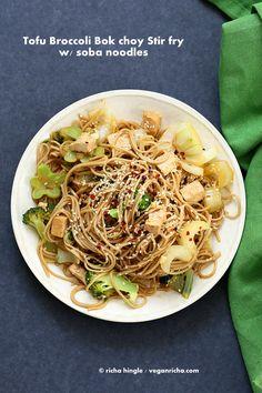 Tofu Broccoli Bok Choy Stir fry with Garlic Sesame Soy Sauce and Soba Noodles. Vegan Recipe
