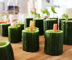 Applejack Shot in Edible Cucumber Cups #recipe #cocktail #beverage #drink