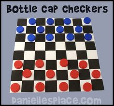 Milk Jug Caps Checker Board Game Kids Can Make from www.daniellesplace.com