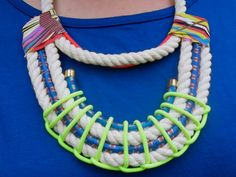 Neon Aztec Necklace Collar,  Cotton Twisted Nautical Rope with Neon Red and yellow weave, bungee cord and gold-plated findings, OOAK. $84.00, via Etsy.