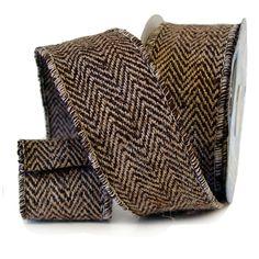 Jute Herringbone Ribbon - Suits Color: Chocolate, Tan Size: 2.5 in width; 10 yards in length Wired Edge Material: 100% Jute www.trendytree.com $21.99