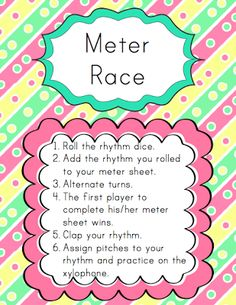 Centers: Meter Race | Elementary Music Resources