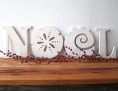 Noel. Coastal Christmas Sayings Decorations.