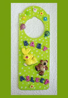 Great idea! http://www.etsy.com/treasury/NTM5ODkzNXwyNzIwNTgyNzA1/smokin-hot-rose-and-screaming-chartreusaBaby Asleep Door Hanger No. 1. $7.00, via Etsy.