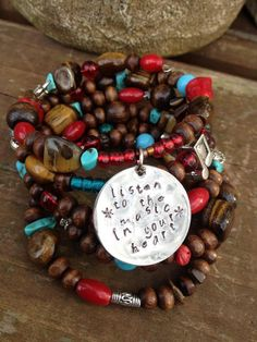 Listen to the Music in Your Heart: five wrap memory wire bracelet with metal stamped charm on Etsy, $40.00