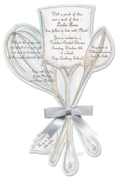 Utensils Bouquet $2.10-Pampered Chef party, kitchen party invitations, chef party, cooking party, bridal shower invitations
